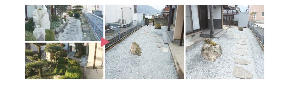お庭の撤去・整地・防草・補装 施工事例